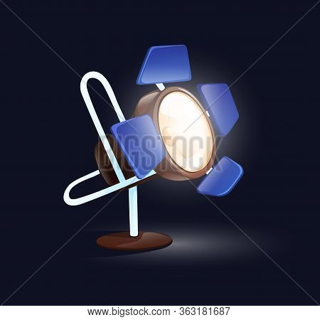 Floor Floodlight. Studio Shooting Light, 3d Vector