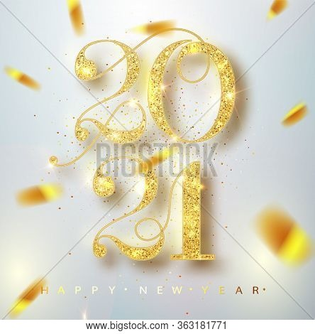 Happy New 2021 Year. Holiday Vector Illustration Of Golden Metallic Numbers 2021. Realistic Sign. Fe