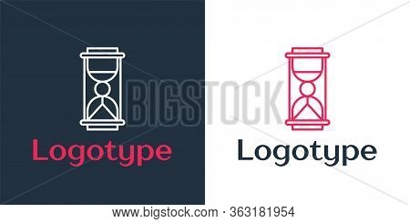 Logotype Line Old Hourglass With Flowing Sand Icon Isolated On White Background. Sand Clock Sign. Bu