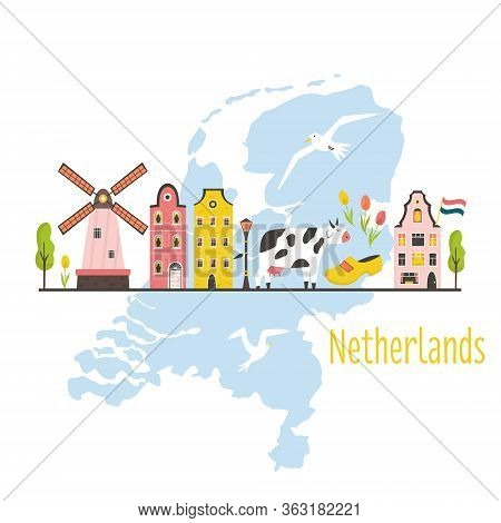 Tourist Poster, Card With Symbols Of Netherlands