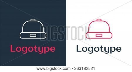 Logotype Line Beanie Hat Icon Isolated On White Background. Logo Design Template Element. Vector Ill