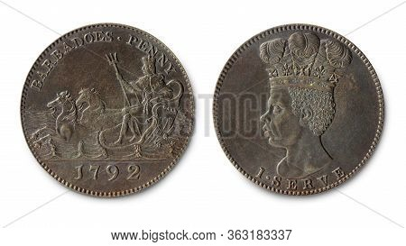 Copy Of The Barbados Copper Penny Coin With Neptune In Chariot And Slave Portrait Minted In 1792, Ag