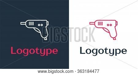 Logotype Line Electric Hot Glue Gun Icon Isolated On White Background. Hot Pistol Glue. Hot Repair W