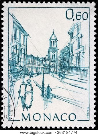 Luga, Russia - April 10, 2020: A Stamp Printed By Monaco Shows View Of Church Of Saint Charles On Th