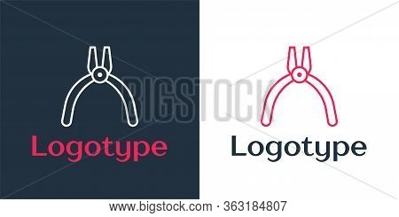Logotype Line Pliers Tool Icon Isolated On White Background. Pliers Work Industry Mechanical Plumbin