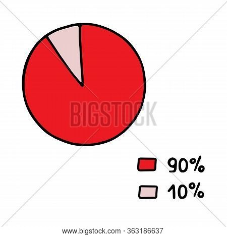 Hand-drawn Vector Abstract Pie Chart Divided Into Segments With Percent. Doodle Color Illustration O