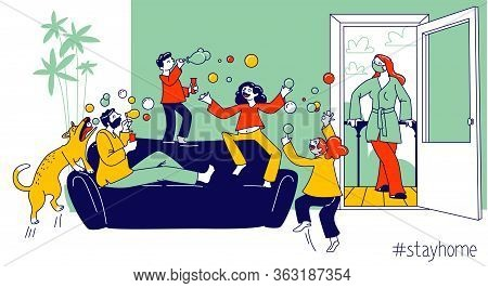 Stay Home Concept With Happy Family Characters Parents And Kids Playing And Blowing Soap Bubbles At