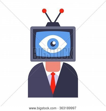 Propaganda And Surveillance Via Tv. Control Of Workers In The Office And At Home. Flat Vector Illust
