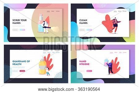 Tiny Characters Wash Hands With Antibacterial Soap Sanitizers Landing Page Template Set. Coronavirus