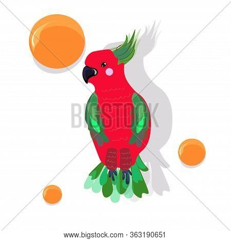 Red Parrot With Green Wings, Crest And Tail Surrounded By Orange Circles. Vector Illustration.