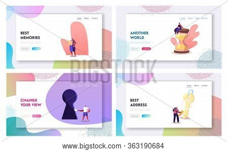 Characters Paying Quest Game Solving Puzzle During Riddle Landing Page Template Set. Friends Company