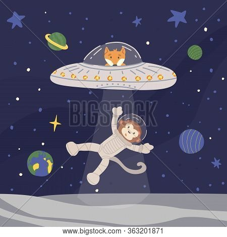 Funny Alien Fox In Ufo With Ray Of Light From Spaceship Kidnapping Monkey Astronaut From Moon. Outer