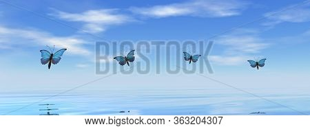 Blue Butterflies Flying To The Horizon Upon The Ocean - 3d Render