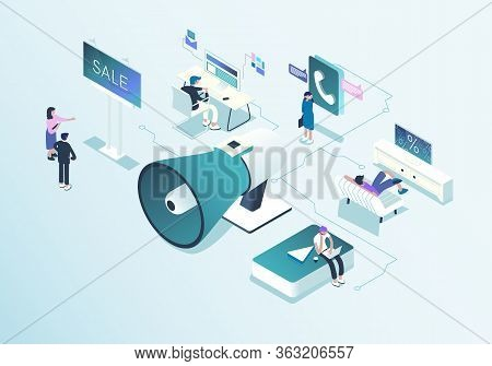Outbound Marketing Concept Illustration In Isometric Design.  Online And Offline Business Promotion