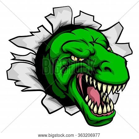 Cartoon T Rex Tyrannosaurus Dinosaur Ripping Through The Background