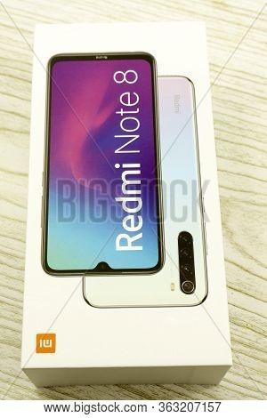 Russia Berezniki 06.12.2019 : The Xiaomi Redmi Note 8 Is Built Around A 6.3 Fhd Display.