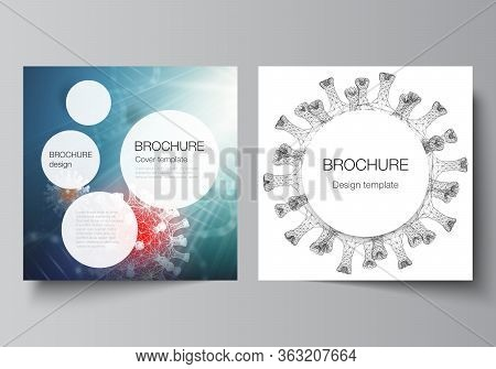 Vector Layout Of Two Square Cover Templates For Brochure, Magazine, Cover Design, Book Design, Broch