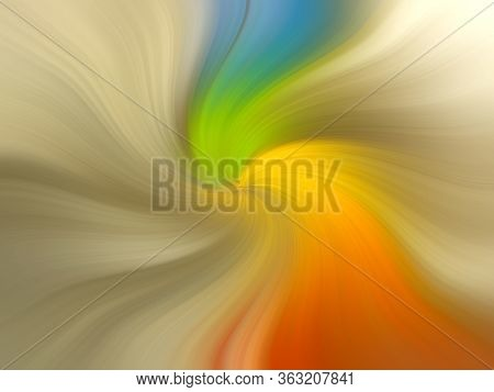 Abstract Bright Multi-colored Twisted Background. Glow Yellow Swirl Texture For Banner, Poster, Webs