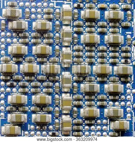Miniaturized Electronic Components Of An Integrated Circuit Of A Motherboard Of A Computer