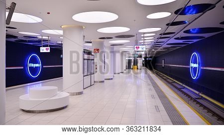 Warsaw, Poland. 26 April 2020.warsaw Metro Station Interior Warsaw Mlynow . View Of Empty Metro Stat
