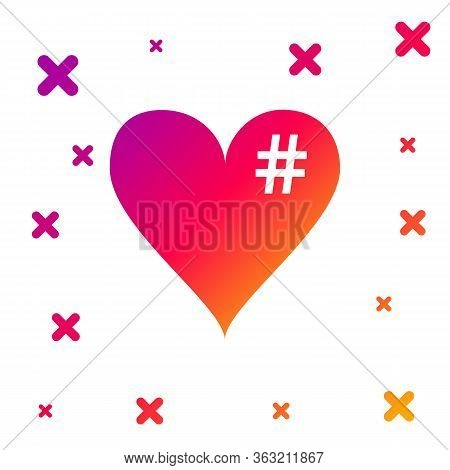Color The Hash Love Icon. Hashtag Heart Symbol Icon Isolated On White Background. Gradient Random Dy