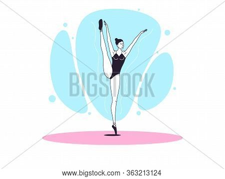 Graceful Ballerina Woman In Outline Minimalist Style. Ballet Dancer Stands On One Leg, Lifts Up Seco