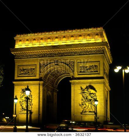 Arc De Triomphe. Paris. France. At Night