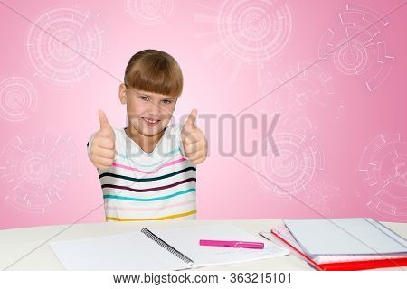 People, Children And School Concept - Little Student Girl Showing Thumbs Up Over Pink Background
