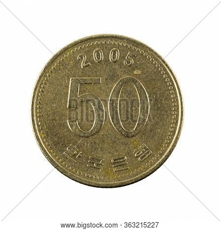 50 South Korean Won Coin (2005) Reverse Isolated On White Background