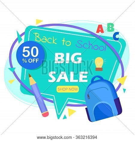 Back to school sale banner.Back to school sale banner. Back to school banner set. Colorful back to school templates for invitation, poster, banner, promotion,sale etc. School supplies cartoon illustration.