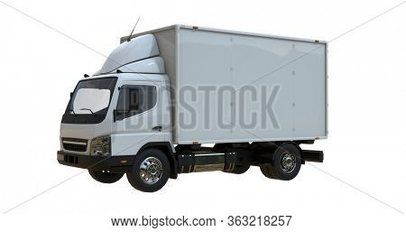 White Commercial Delivery Truck on a White Background isolated, Template Element Infographic, Postal Truck, Express, Fast Delivery, White Delivery Truck Icon, Transporting Service 3d rendering