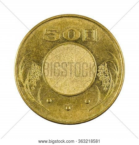 50 New Taiwan Dollar Coin (2014) Reverse Isolated On White Background