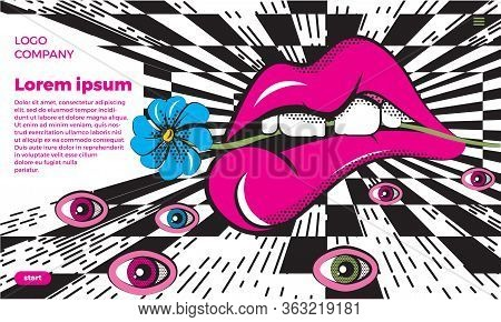 Vector Illustration In Op Art And Pop Art Style. An Absurd Abstraction With Huge Lips And Eyes Again