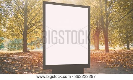 Modern White Billboard With Space For Template In Beautiful Autumn Park