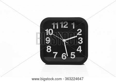Isolated Black And White Modern Clock Face Show The Time At Two Pm In Afternoon