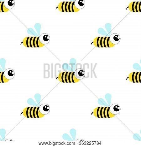 Wasp, Bee, Bumblebee Seamless Pattern On A White Background.flat Illustration.cartoon Style.vector I