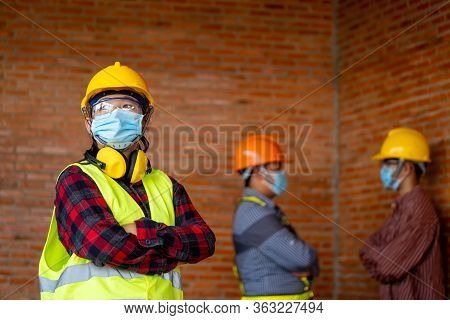 Group Of Professional Engineering Team Wear Protective Face Masks Safety For Corona Virus Disease 20