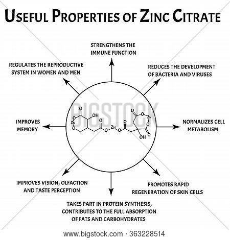 Zinc Citrate Useful Properties Molecular Chemical Formula. Zinc Infographics. Vector Illustration On