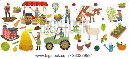 Local Organic Production Icons Set. Farmers Do Agricultural Work, Planting, Gathering Crops And Sell