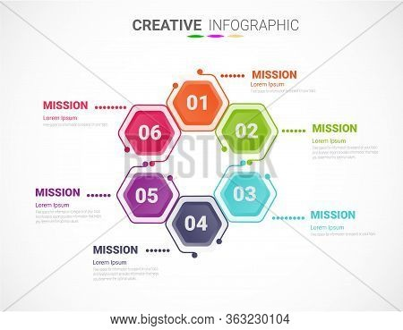 Circle Infographics Elements Design With Numbers 6 Option, 6 Step. Can Be Used For Workflow Layout,