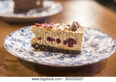 Syroid Cake With Almonds And Cherry. Useful Sweets Super-food.