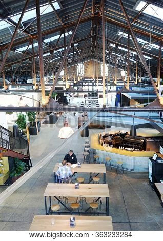 Raleigh,nc/usa - 05-15-2019: The Transfer Co Food Hall In Downtown Raleigh Nc, With Local Food Vendo