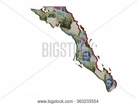 Mexican Banknotes Forming And The Map Of Baja California Sur State And White Background