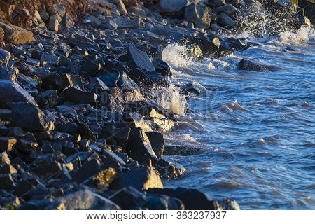 Sea Hitting The Rocks In The Late Afternoon In Florianopolis, Santa Catarina, Brazil