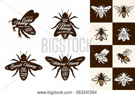 Honey Logo And Bee Icons
