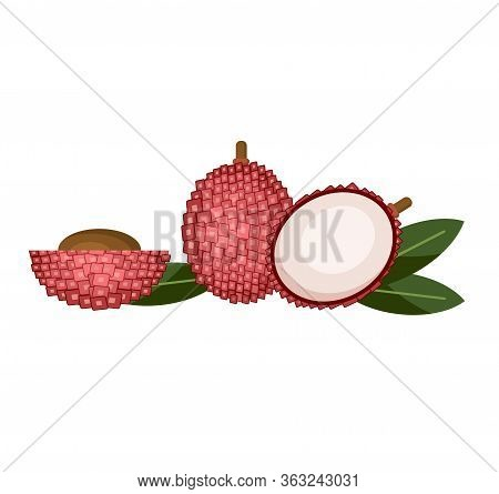 Lychees Isolated On White. Flat Vector Illustration Set Of Lychees Icons For Web Design. Sides Of Ly