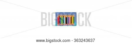 Isolated Color Pencil Icon On A Blue Background. Simple Mark Pencil Icon. Trendy Pencil Icons And Mo
