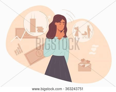 Young Woman Pondering Her Choice Of Finances Or Investments For Raising A Young Family Surrounded By