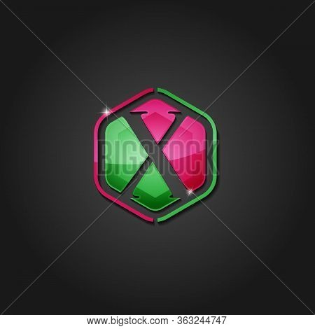 Hexagon Letter X Shiny Colorful Logo