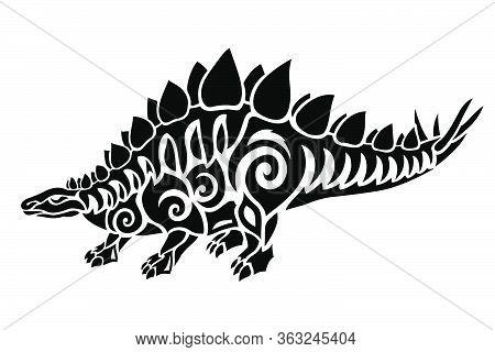 Beautiful Tribal Tattoo Illustration With Stylized Black Stegosaurus Silhouette On The White Backgro